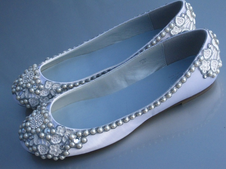 Silver and Pearl Bridal Ballet Flats Wedding Shoes - Any Size - Pick your own shoe color and crystal color. $205.00, via Etsy.