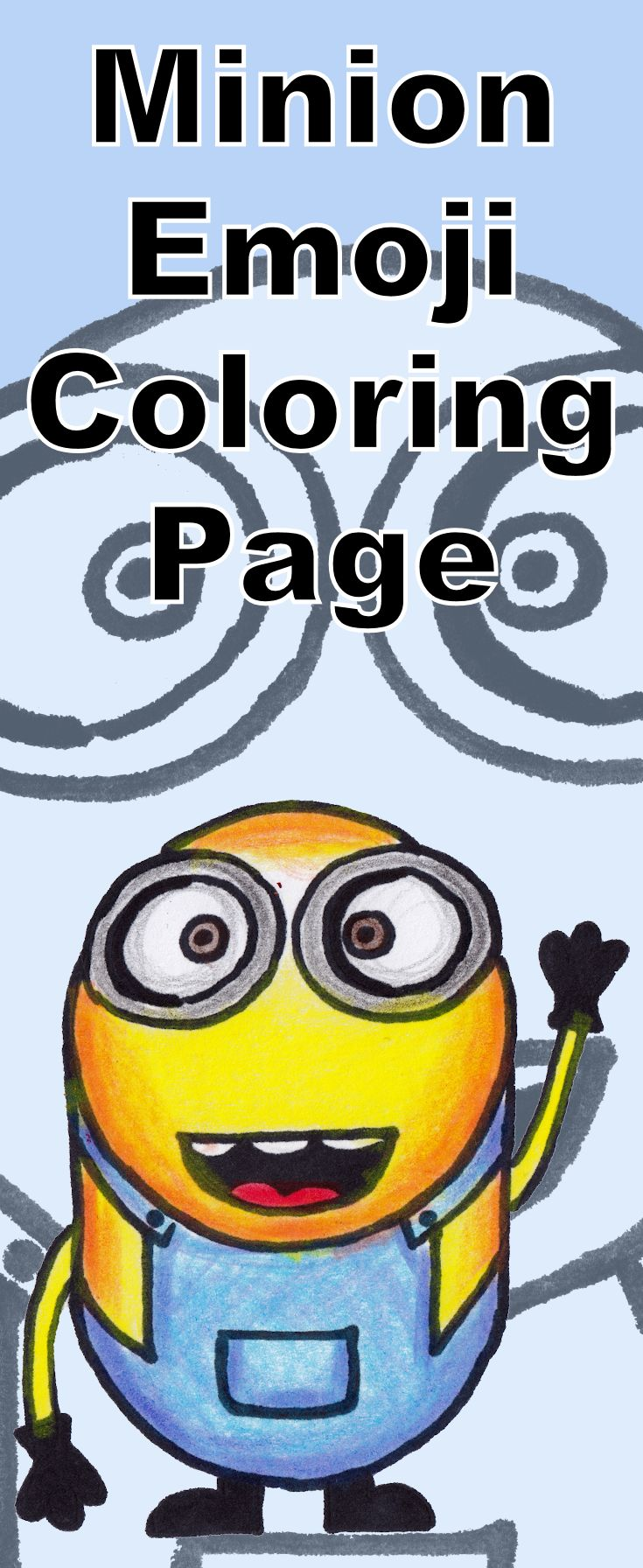 Free Minion emoji coloring page - includes a drawing tutorial video