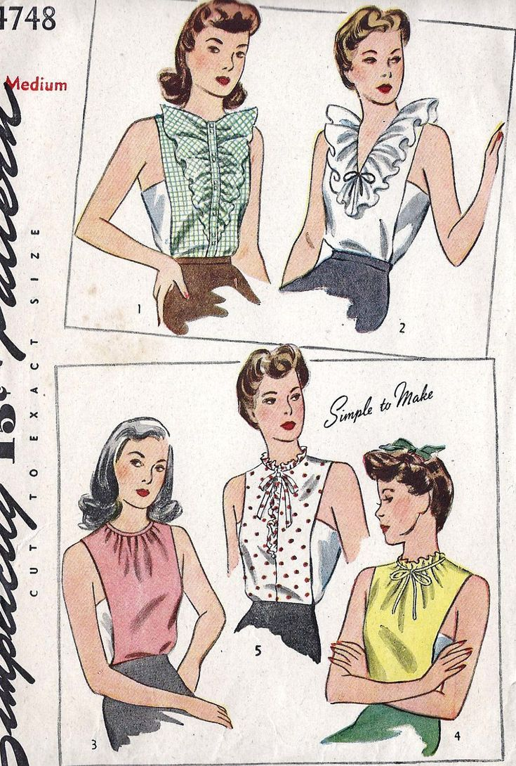 1940s Misses Dickey Vintage Sewing Pattern Simplicity 4748 Bust 34 to 36 Uncut. $15.00, via Etsy.