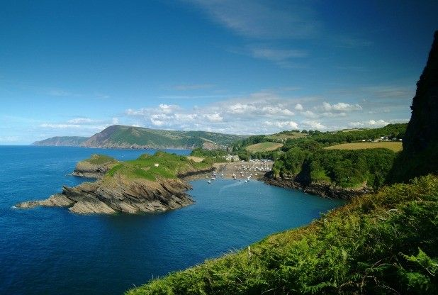 The village of Combe Martin, nestled in Watermouth Bay, North Devon.