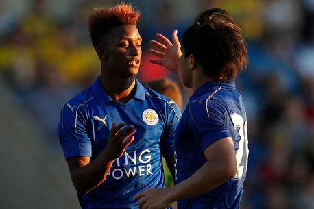 Demarai Gray celebrates after scoring the first goal for Leicester