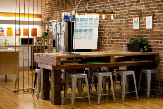 Metal bar stools in office meeting area | Office meeting, Pallets ...