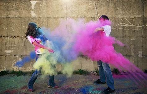 Paint wars engagement photo theme