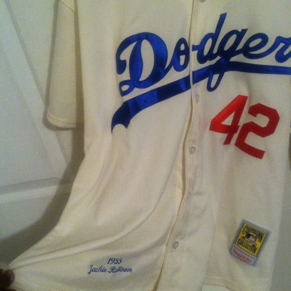 1955 Mitchell and Ness LA Dodgers Jersey Its an LA Dodgers Jackie Robinson Jersey worn about three times still in great condition just sitting in my Closet . Cooperstown collection Other