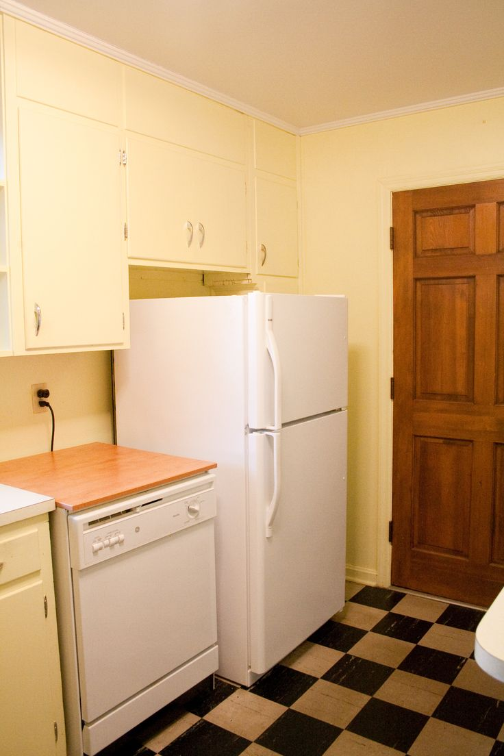 before:  shallow, good -for-nothing refrig. cabinets and portable dishwasher.  super small frig!