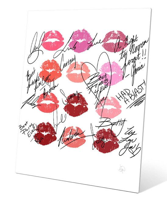 Image Canvas White Kisses Signable Wall Art: everyone who attends the batchelorette party signs it