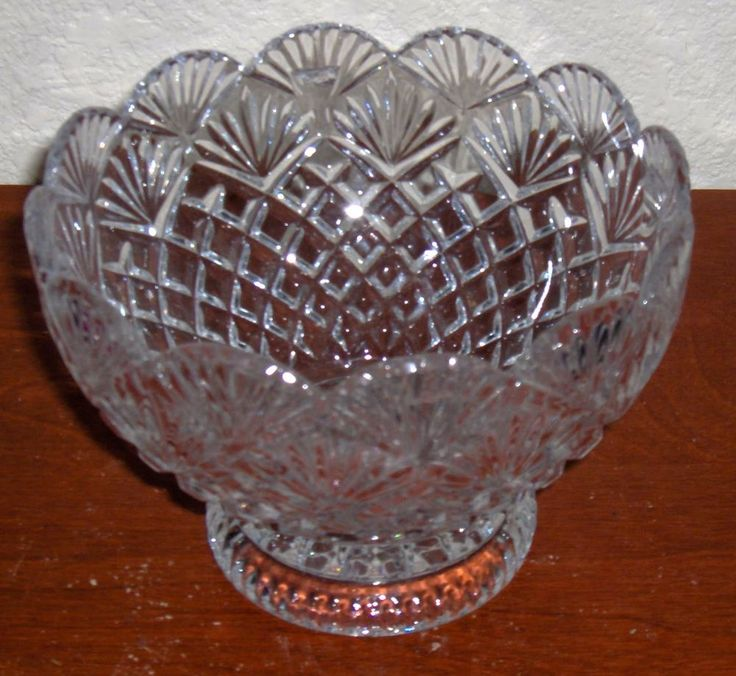 Details About Vintage Cut Crystal Clear Glass Elegant