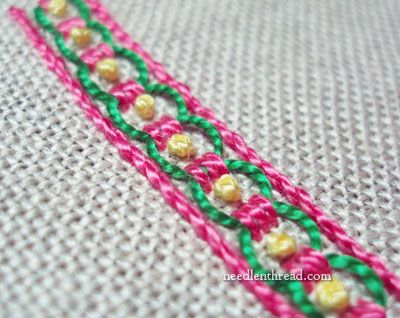 Guilloche Stitch! Try it - it makes a beautiful, easy border!
