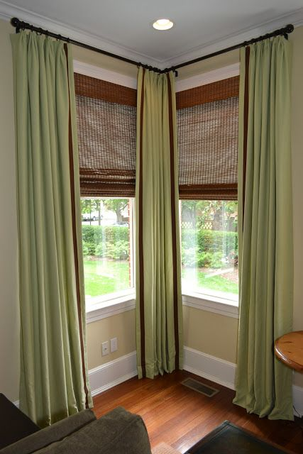 corner windows and curtains to the ceiling - maybe this would be cute to do in the kitchen corner window