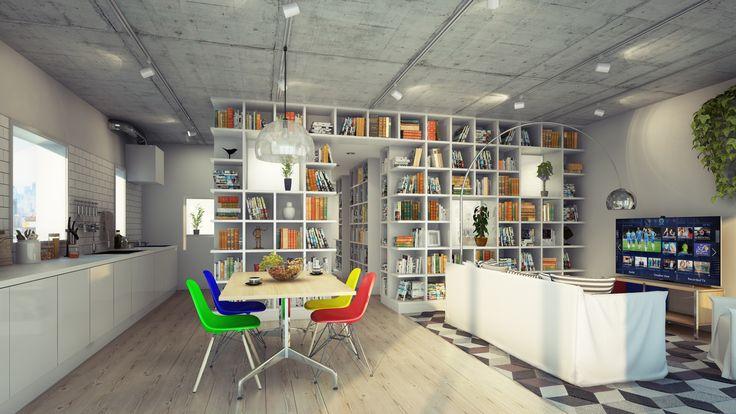 キッチン、ダイニング、リビングを繋げて空間を見通せ、ゆったりとしたスペースを作り, 水廻り, 寝室を間仕切りを兼ねた本棚て取り囲むようにし大量の収納を確保してしました。また玄関横に鏡、棚の一部に窓をもうけることで生じた、奥行きがあるような錯覚により、狭い/暗いと思いがちなマンションの玄関が全体に広がっていくように感じられるようにしました。