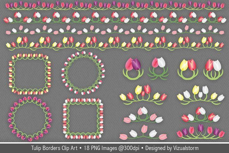 Tulip Borders and Frames Clip Art by VizualStorm on @creativemarket