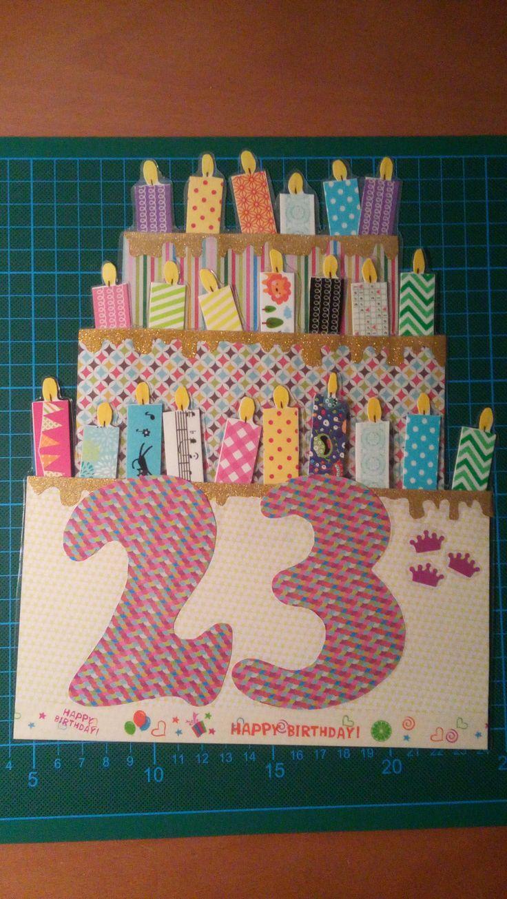 #tarjeta #cumpleaños #happy #birthday #23years #felicitación #sorpresa #scrap #washitape #velas #decoración