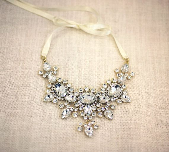 scarlett bold crystal necklace wedding jewelry by lolaandmadison 19500