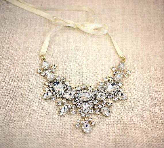 Scarlett - Bold crystal necklace, wedding jewelry , bridal necklace, statement necklace, bridal jewelry,