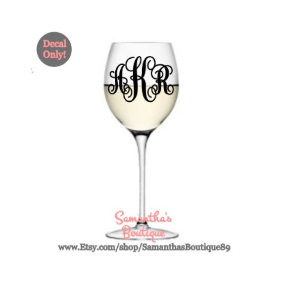 Diy custom script monogram wine glass vinyl decal