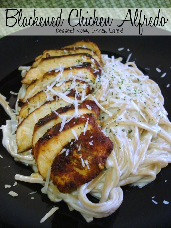 Blackened Chicken Alfredo - tried the chicken (lil spicy) and changed the Alfredo to sautéed mixed mushrooms, garlic, onions, mushroom broth w garlic Alfredo (cheated and used bottled). Topped w fresh Parmesan. Very tasty!