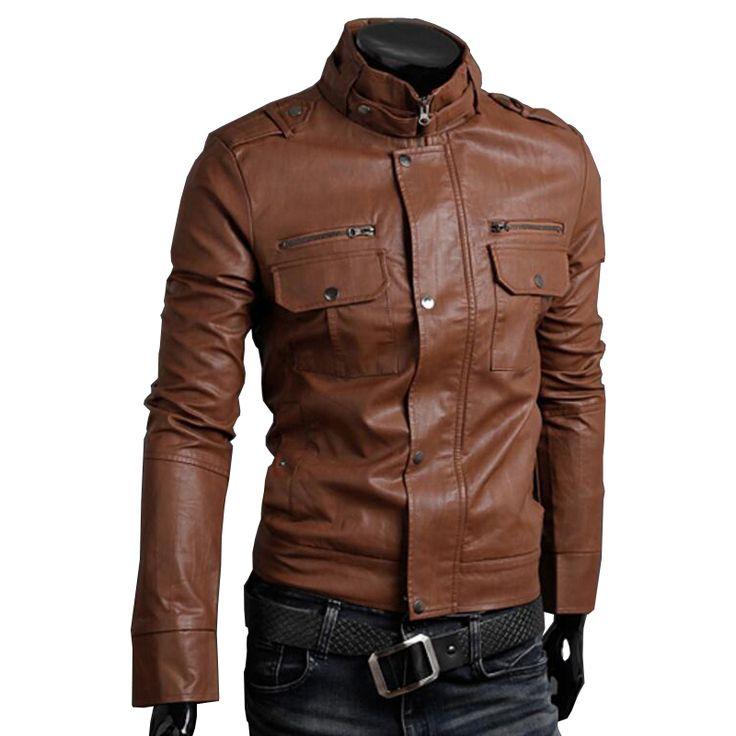 Windbreaker Faux Leather Jacket Men Brown Mandarin Collar Fashion Slim Multi-Pockets Coat chaqueta cuero hombre Size L,XL