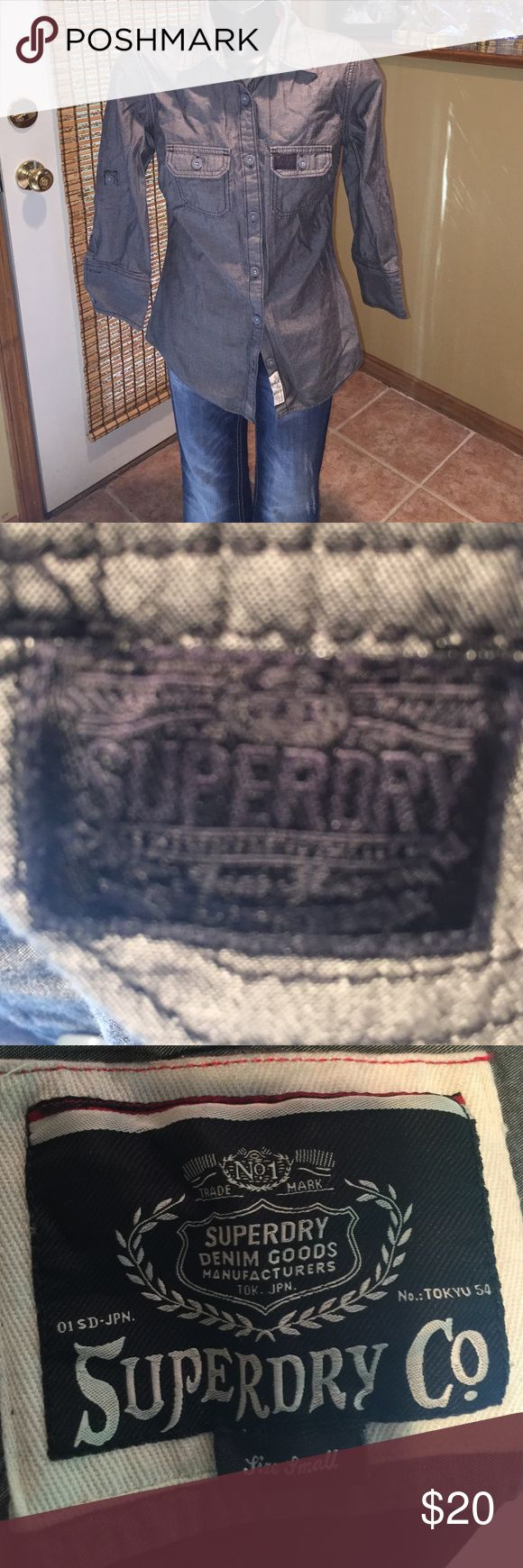 Superdry Grey Longsleeve Shirt Slate Grey Size Small Superdry Shirt Superdry Tops Button Down Shirts