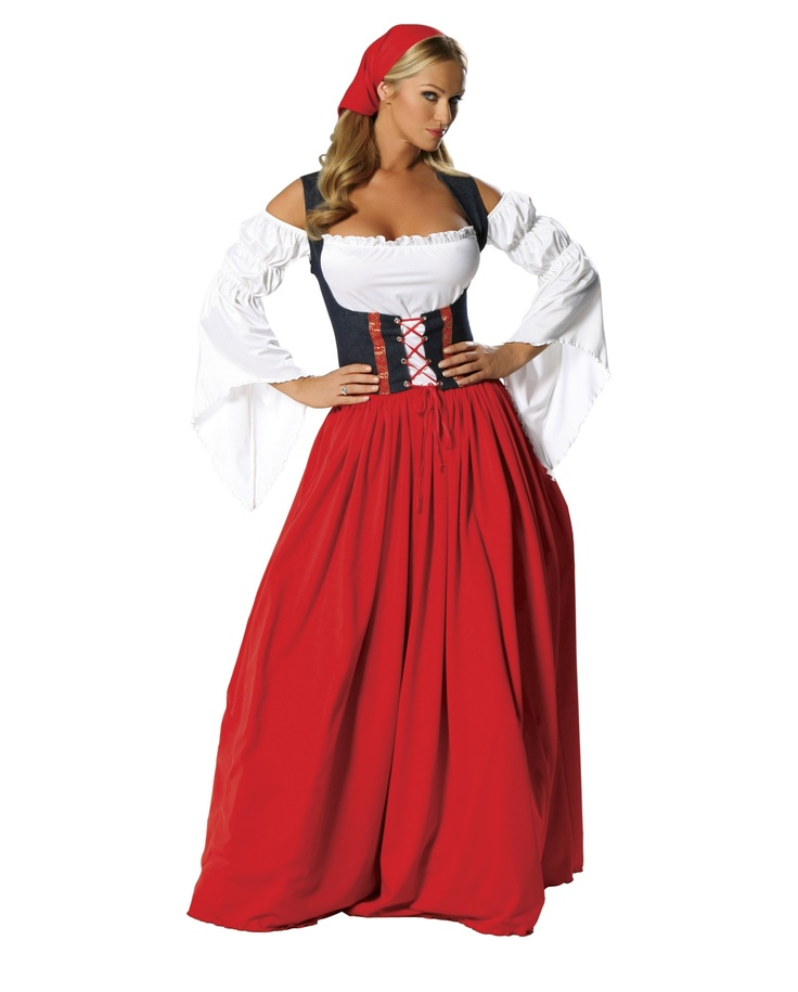 Swiss Miss Oktoberfest Costume! Show up to the party in classic Oktoberfest style! this more traditional women's German costume features a long red skirt, navy lace-up waist cincher and white top. It is the perfect Oktoberfest ensemble if you are looking for a costume that does not reveal all and keeps the men at the beer tent guessing... $79.99