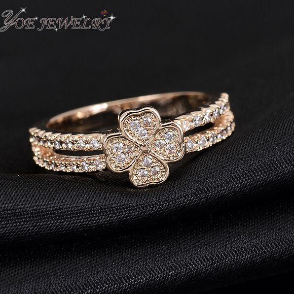 Iyoe бижутерии роуз позолоченные мода свадебные обручальные кольца для женщин AAA циркон клевер кольцо валентина подарок.