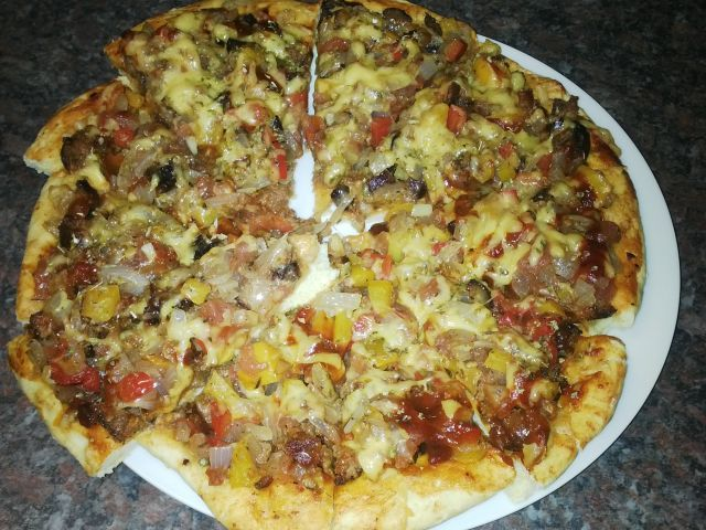 Juicy something meaty Pizza/ My Style