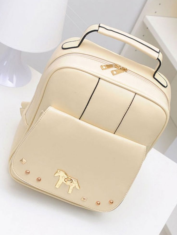 Buy Beige Backpack With Alloy Horse Decorate from abaday.com, FREE shipping Worldwide - Fashion Clothing, Latest Street Fashion At Abaday.com
