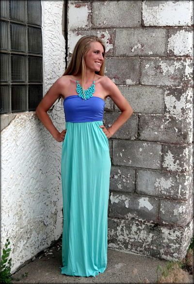 Jade and turquoise maxi dress