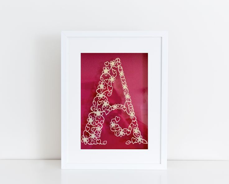 A delicate and intricate letter A. Original design by Papercuts By Amanda. Your choice of background color. Availabel at www.mypaperpomegranate.etsy.com