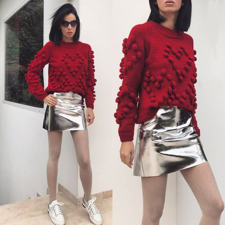 Cherry red sweater by Laura Ion / handmade knit