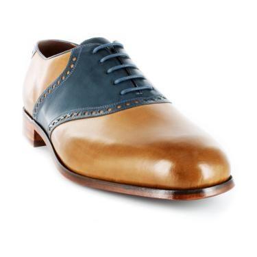 mens saddle shoes | The Saddle - Toffe/Chalk Blue - MEN'S - - florsheim.com