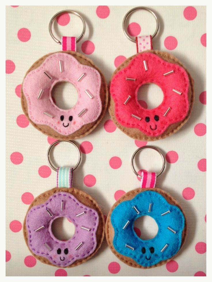 Adapt felt doughnuts to keyrings.                                                                                                                                                      More