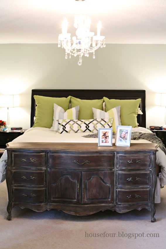 Dresser as footboard in master..kind of like this idea!
