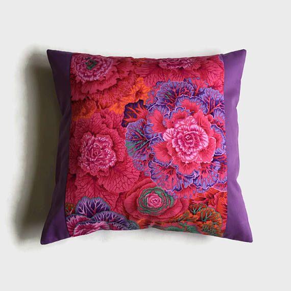 Kaffe Fassett Design Pink & Lilac Throw Pillow Designer
