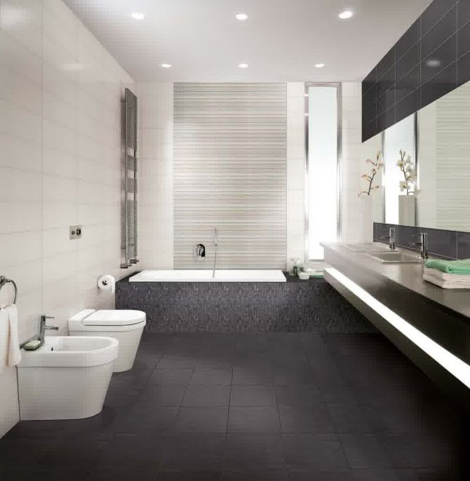 Minimal Bathroom With Marble Wall Tiles And Grey Floor Tiles - Google Search