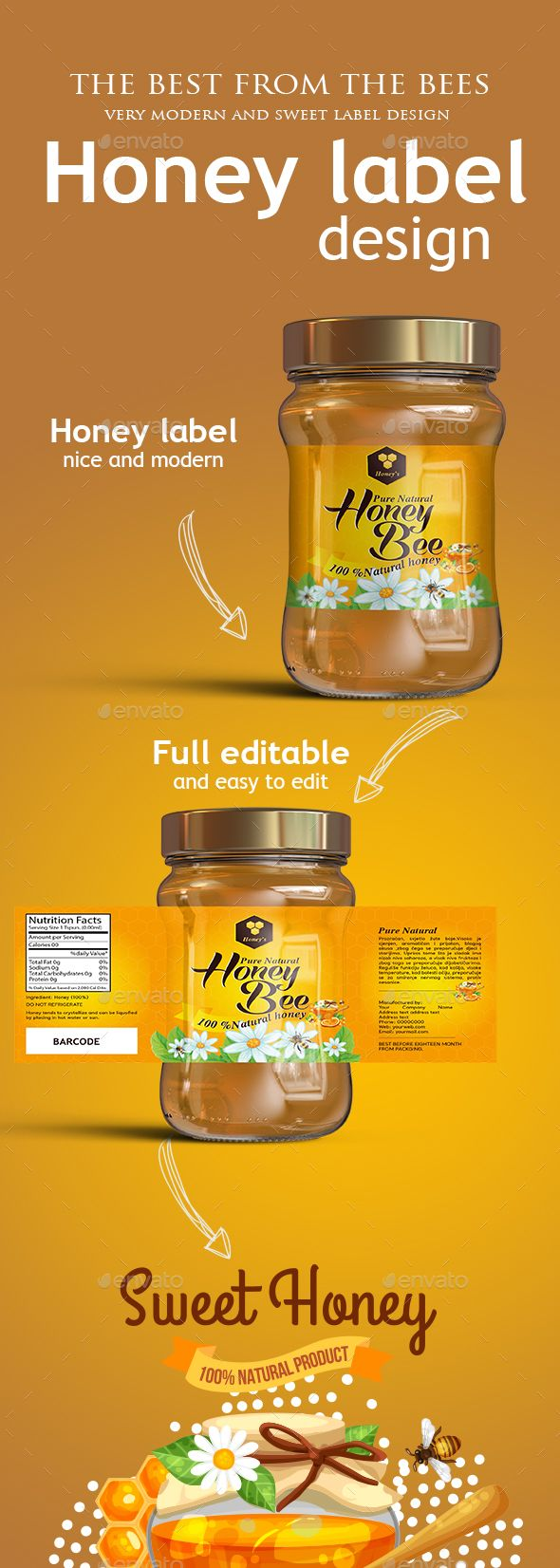 Honey label template - #Packaging Print #Templates Download here: https://graphicriver.net/item/honey-label-template/19296039?ref=alena994