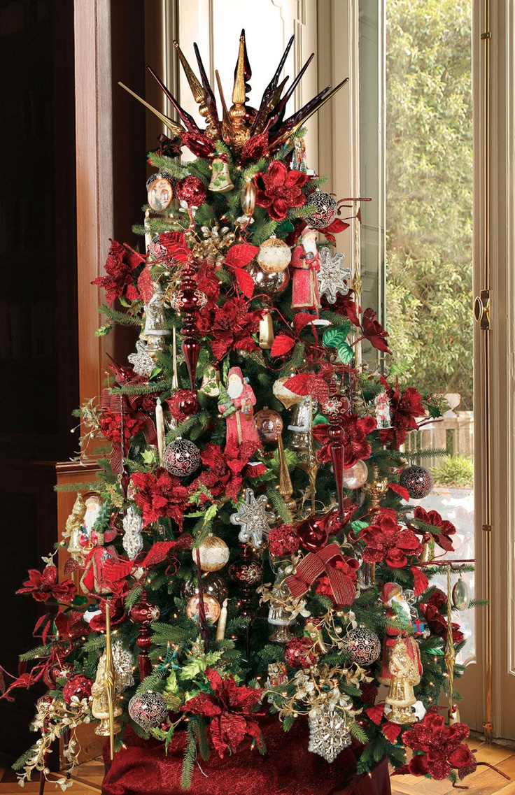 Red and gold christmas tree decorations - Colors And Themes For Christmas Tree Tree Decorated In Red And Gold
