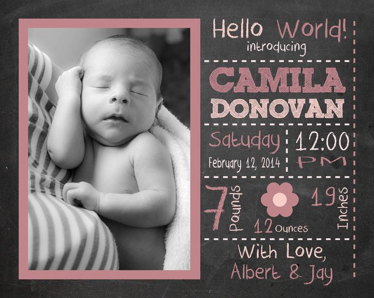 16 best Chalkboard Baby Birth Stats Announcements for boys or – Baby Girl Announcements Pinterest
