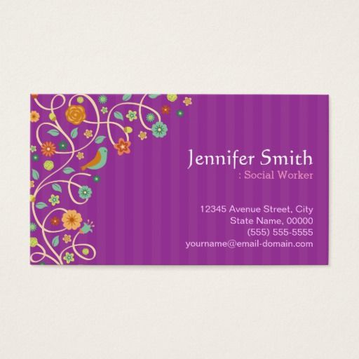 142 best social worker business cards images by katiescollect social worker purple nature theme business card colourmoves