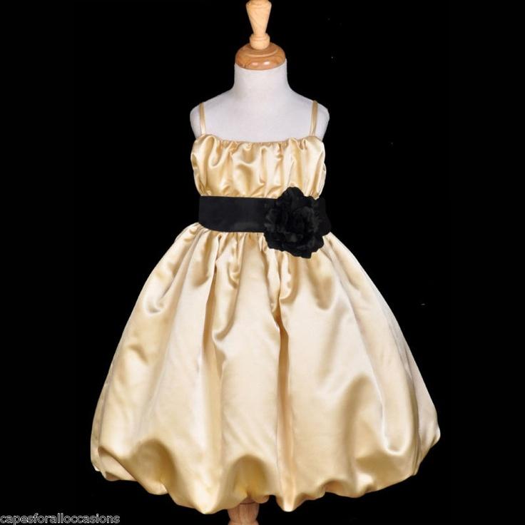 Black and gold dresses for flower girls