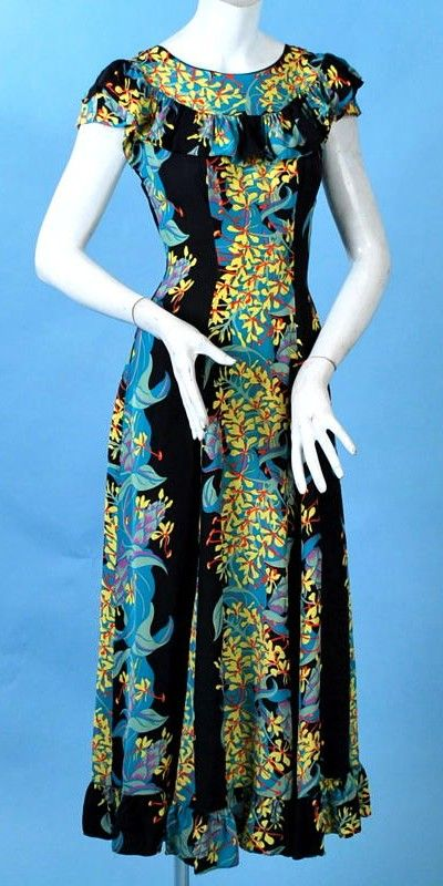 Vintage Hawaiian Kamehamahe Tropical Flowers Long Dress