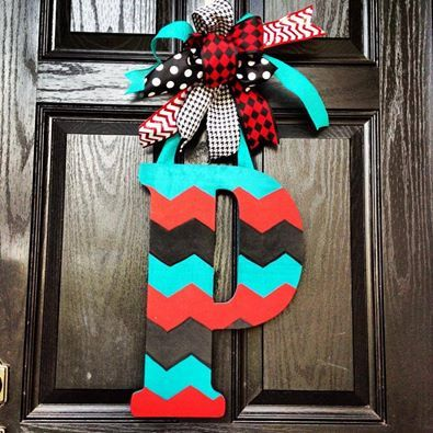 Chevron letter // Turquoise // Black // Red  // 18 inch/ / Huge Bow on Etsy, $55.00