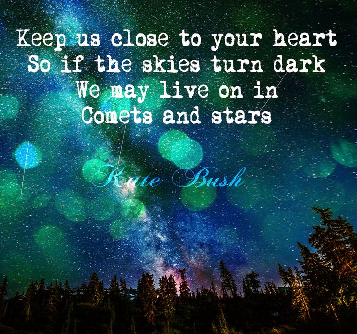 """""""Keep us close to your heart So if the skies turn dark We may live on in Comets and stars"""" Kate Bush, Sunset quote."""