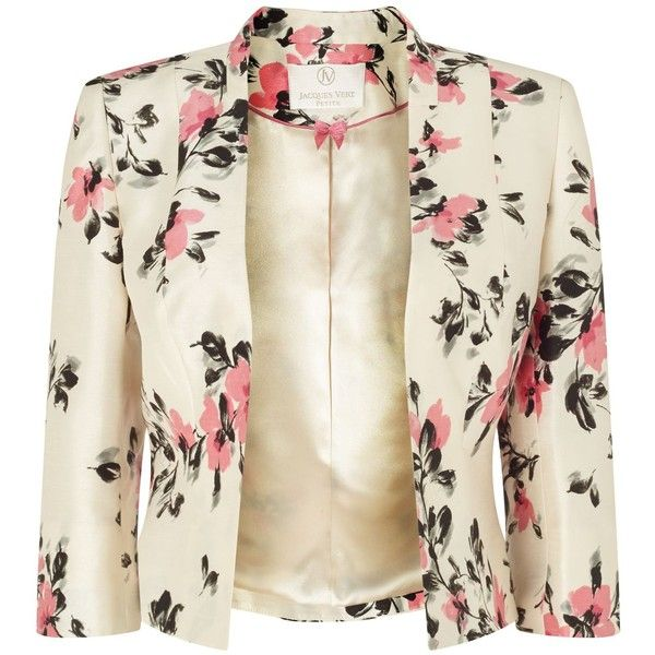Jacques Vert Petite All Over Flower Jacket (€190) ❤ liked on Polyvore featuring outerwear, jackets, blazer, chaquetas, petite, women, white jacket, petite blazer, blazer jacket and jacques vert