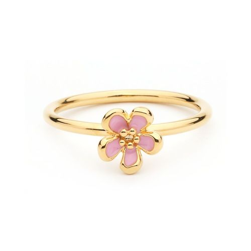 Cherry Blossom Pink Enamel Flower Stackable Ring Gold Plated