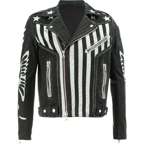 Balmain American flag print leather jacket ($4,726) ❤ liked on Polyvore featuring men's fashion, men's clothing, men's outerwear, men's jackets, black, mens biker style jacket, mens leather biker jacket, mens zipper jacket, mens summer jackets and mens zip jacket