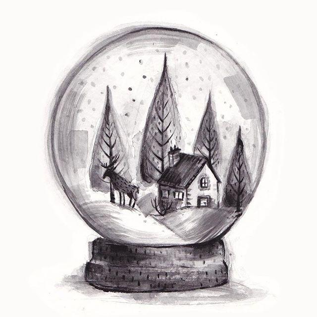 Realistic Drawing Ideas In 2020 Globe Drawing Winter Drawings Reindeer Drawing