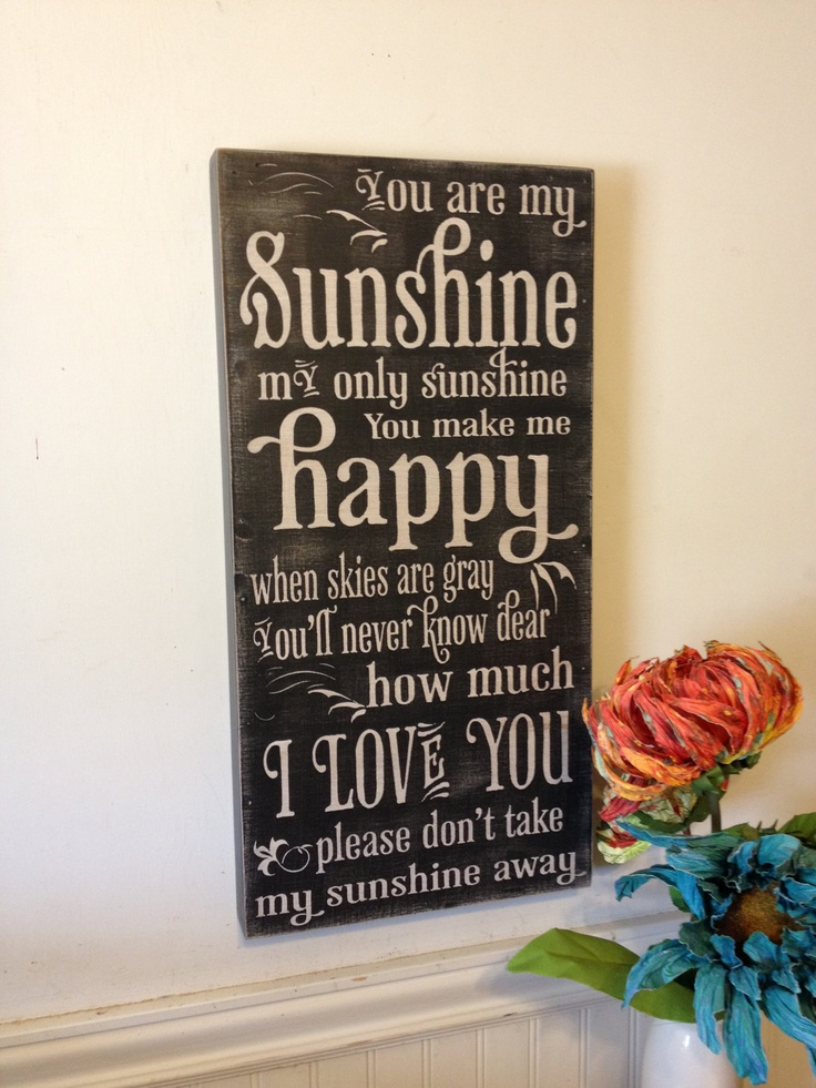 You are my sunshine - chalkboard illustrated typography - vintage style lettering. $50.00, via Etsy.