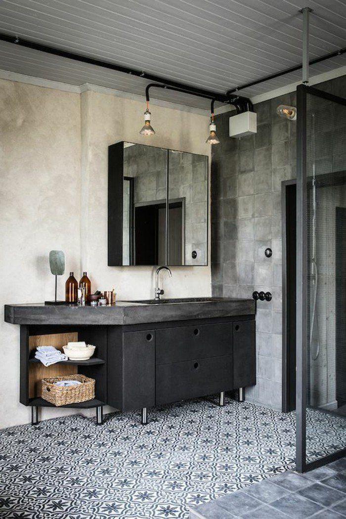 Sol En Mosaique Blanc Noir Meuble Miroir Mur Beige Meubles Noires Dans La Salle De Bain Home Home Decor House Interior