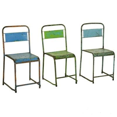 Sedia seggiola Vintage in ferro con schienale stile industriale in vari colori