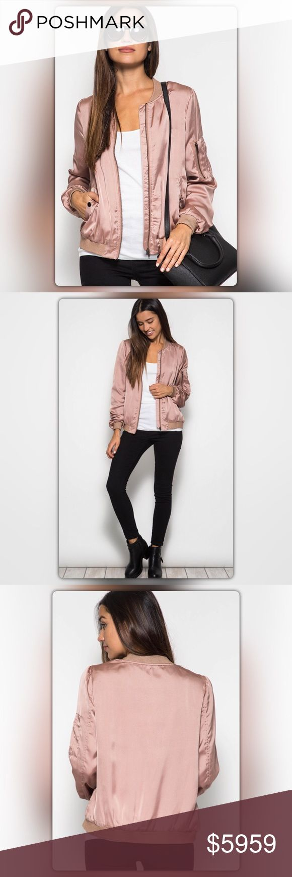 Dusty Rose Satin Bomber Jacket Ships 11/9. Get the look of the season! Bomber jackets are back. Put a girly twist on this classic look with a sweet, but sassy, dusty rose color. The jacket has side pockets and a zipper detail on the sleeves. NEW Boutique Jackets & Coats